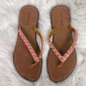 Mystique Boutique Jeweled Flip Flops Pink Size 8
